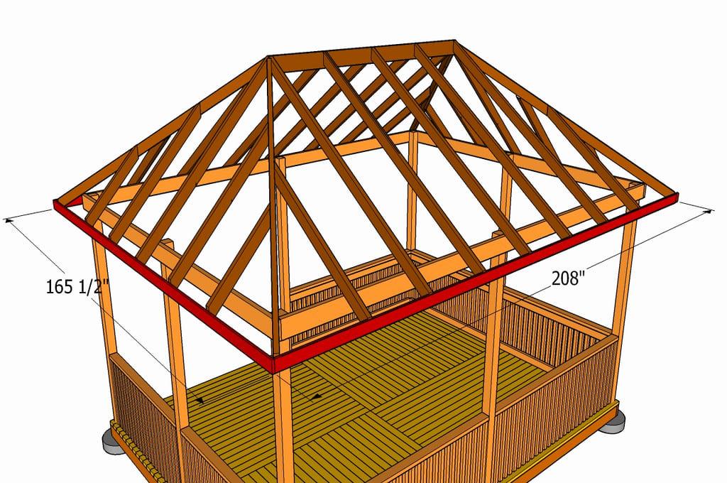 Схема крыши для прямоугольной беседки