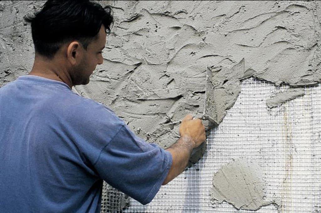 Штукатурка фасада (Использование сетки)