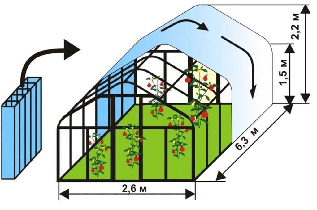 Стандартный проект теплицы из поликарбоната